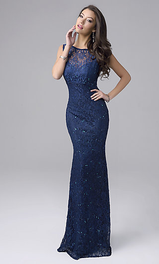 Long Sleeveless Sequined Lace Formal Gown