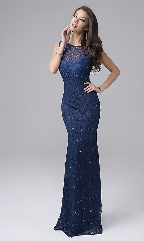 Image of long sleeveless sequined lace formal gown Style: NC-7237 Front Image