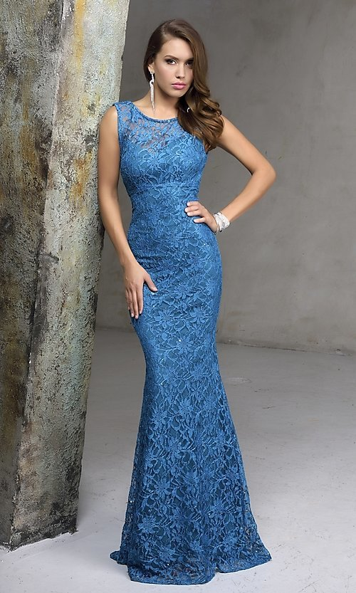 Image of long sleeveless sequined lace formal gown Style: NC-7237 Detail Image 2