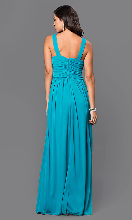 Image of floor-length aqua sleeveless prom dress Style: CT-8420EP1B Back Image