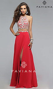 Image of Floor Length Two Piece Lace Prom Dress Style: FA-7716 Front Image