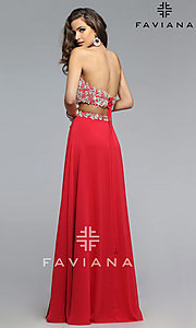 Image of Floor Length Two Piece Lace Prom Dress Style: FA-7716 Back Image