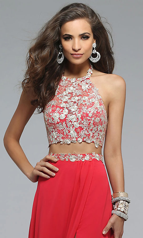 Image of Floor Length Two Piece Lace Prom Dress Style: FA-7716 Detail Image 1