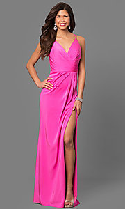 Image of Faviana Floor Length V-Neck Prom Dress Style: FA-7755 Detail Image 7