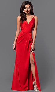 Image of Faviana Floor Length V-Neck Prom Dress Style: FA-7755 Detail Image 4