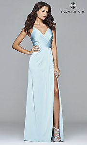 Image of Faviana Floor Length V-Neck Prom Dress Style: FA-7755 Detail Image 6
