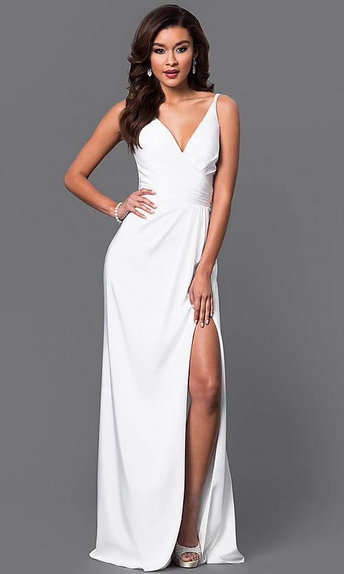 Image of Faviana Floor Length V-Neck Prom Dress Style: FA-7755 Detail Image 5
