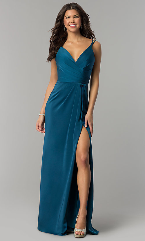 Image of Faviana Floor Length V-Neck Prom Dress Style: FA-7755 Detail Image 2