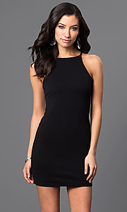 Image of sleeveless short racerback dress Style: CH-2634 Detail Image 1