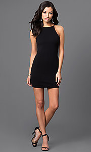 Image of sleeveless short racerback dress Style: CH-2634 Detail Image 2