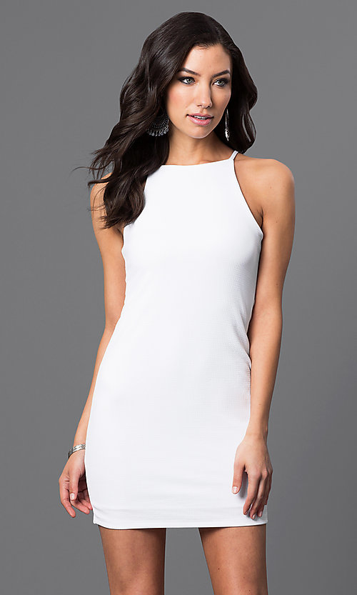Image of sleeveless short racerback dress Style: CH-2634 Front Image