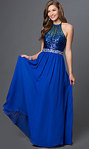 Image of floor-length cobalt-blue sequined halter gown Style: MQ-7030635 Front Image