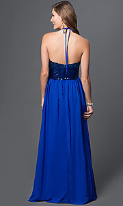 Image of floor-length cobalt-blue sequined halter gown Style: MQ-7030635 Back Image