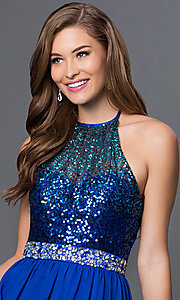 Image of floor-length cobalt-blue sequined halter gown Style: MQ-7030635 Detail Image 1