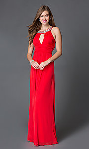 Image of floor-length red keyhole formal gown Style: TX-690617084I Front Image