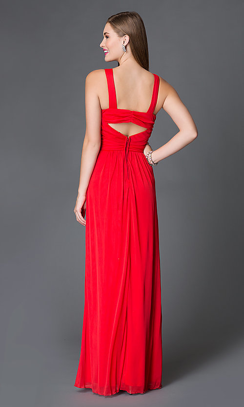 Image of floor-length red keyhole formal gown Style: TX-690617084I Back Image