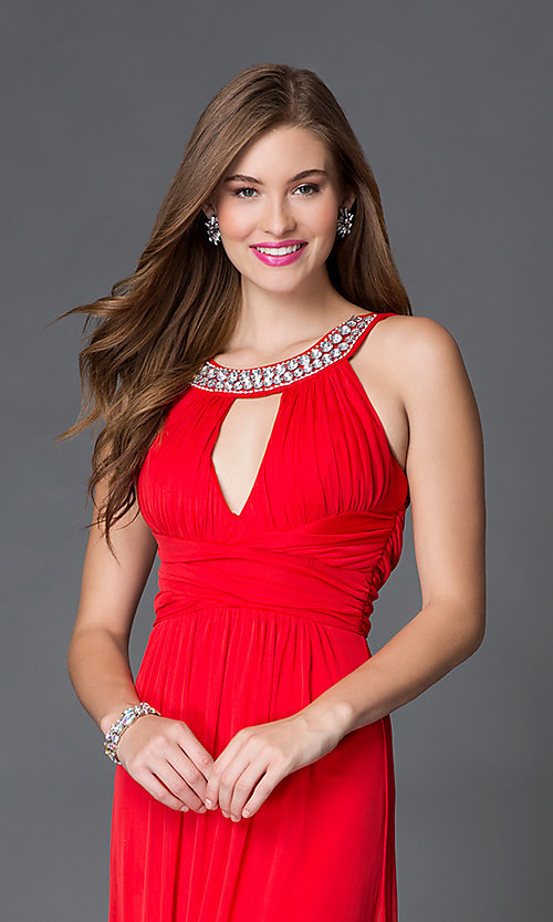 Image of floor-length red keyhole formal gown Style: TX-690617084I Detail Image 1