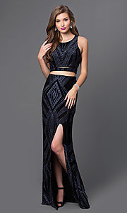 Image of mock two-piece long glitter-print gown Style: JU-48077A Front Image