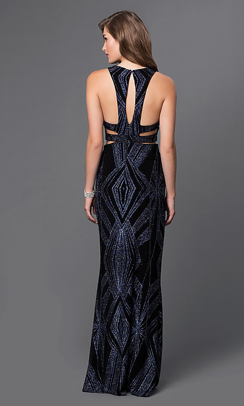 Image of mock two-piece long glitter-print gown Style: JU-48077A Back Image