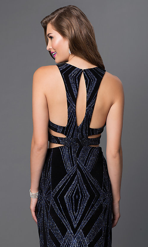 Image of mock two-piece long glitter-print gown Style: JU-48077A Detail Image 1