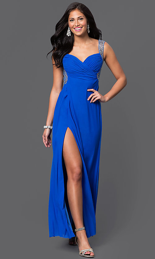 Image of long open-back ruched-bodice prom dress by Jump Style: JU-732 Front Image