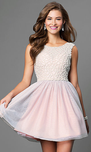 As U Wish Short Beaded Bodice Sleeveless Dress