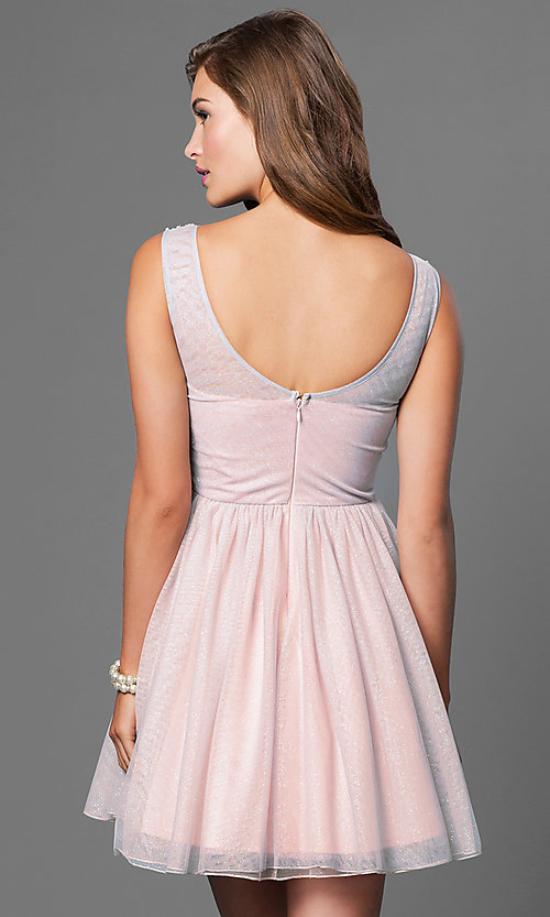 Image of Short Sleeveless Beaded Bodice Dress Style: AS-511009M4 Back Image