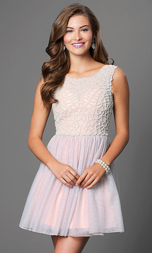 Image of Short Sleeveless Beaded Bodice Dress Style: AS-511009M4 Detail Image 1