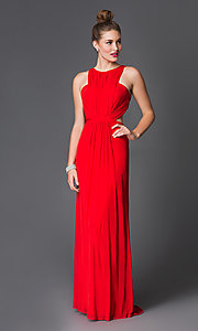 Image of Long Abbie Vonn Backless High Neck Dress Style: LF-AV-0188 Front Image