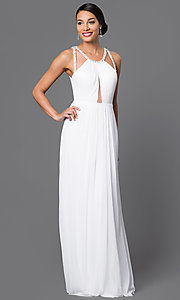 Image of white backless keyhole formal long gown Style: LF-AV-0273 Front Image