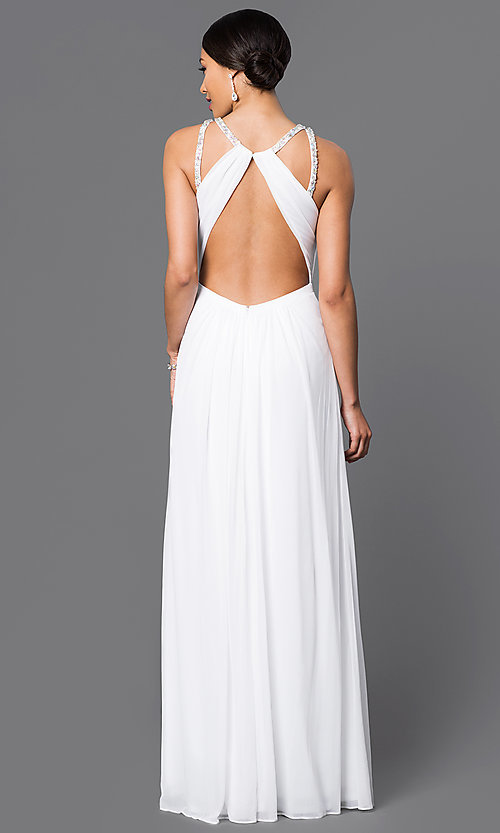 Image of white backless keyhole formal long gown Style: LF-AV-0273 Back Image