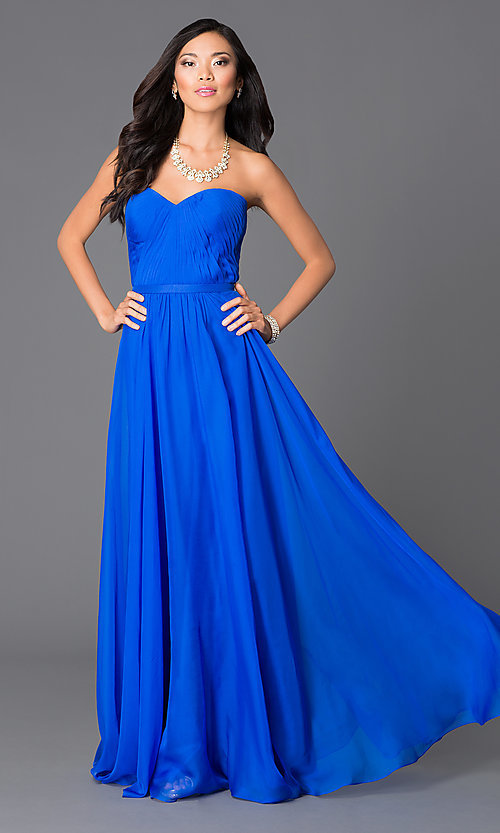 Image of Abbie Vonn floor-length electric-blue gown Style: LF-AV-0704 Front Image