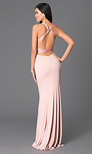Image of Abbie Vonn backless blush-pink formal gown Style: LF-AV-0834 Back Image