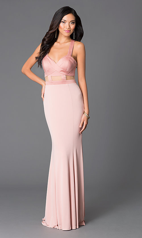 Image of Abbie Vonn backless blush-pink formal gown Style: LF-AV-0834 Front Image