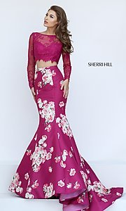 Image of Sherri Hill Floral-Print Two-Piece Long Dress Style: SH-50488 Front Image