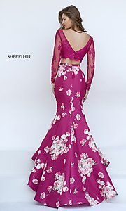 Image of Sherri Hill Floral-Print Two-Piece Long Dress Style: SH-50488 Back Image