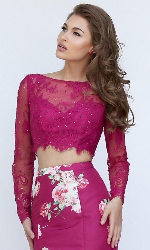 Image of Sherri Hill Floral-Print Two-Piece Long Dress Style: SH-50488 Detail Image 1