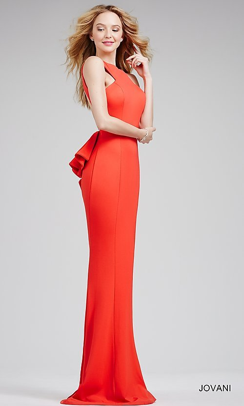 Backless Ruffled High-Neck Formal Gown