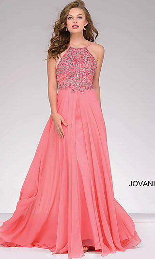 Jovani Floor Length Gown with Open Back