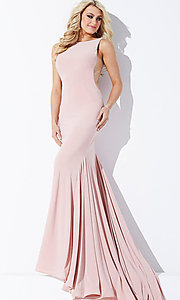 Image of backless floor-length sheer-sides mermaid gown Style: JO-37592 Detail Image 3
