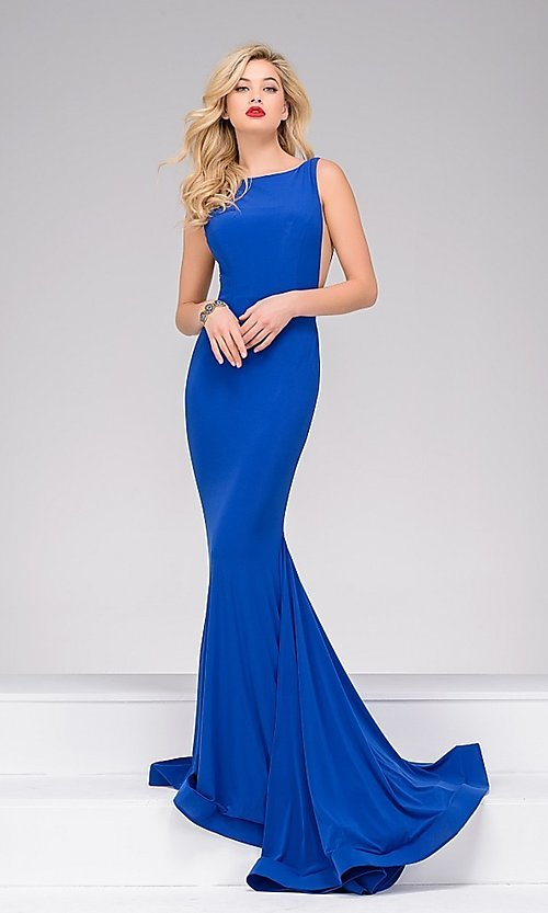 Image of backless floor-length sheer-sides mermaid gown Style: JO-37592 Detail Image 2