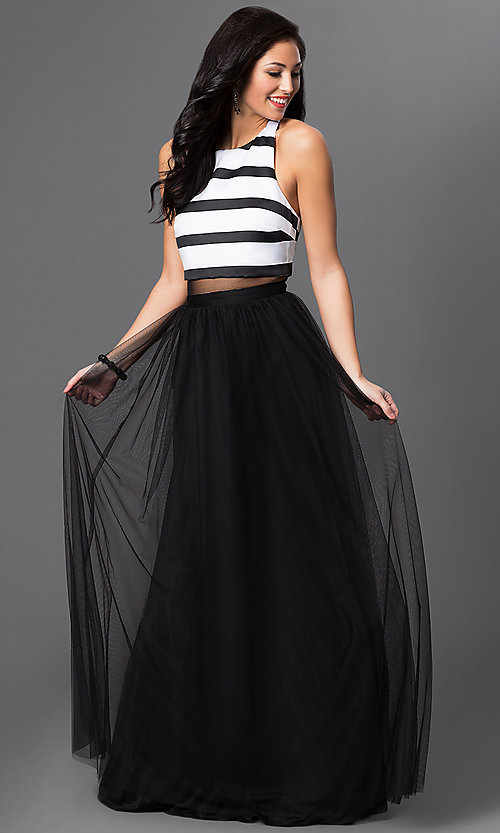 Image of T-back floor-length black and white mock two-piece prom dress Style: BN-56142 Front Image