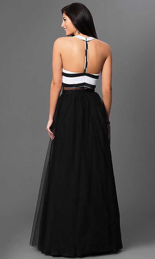 Image of T-back floor-length black and white mock two-piece prom dress Style: BN-56142 Back Image
