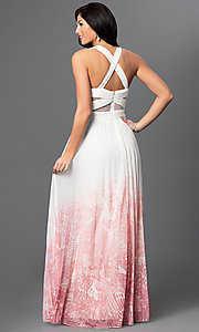 Image of long ivory-pink ombre prom dress Style: BA-A17285 Back Image