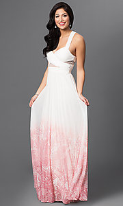 Long Ivory Pink Ombre Prom Dress By Betsy Adam