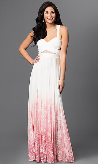 Betsy and Adam Long Ivory Pink Ombre Prom Dress