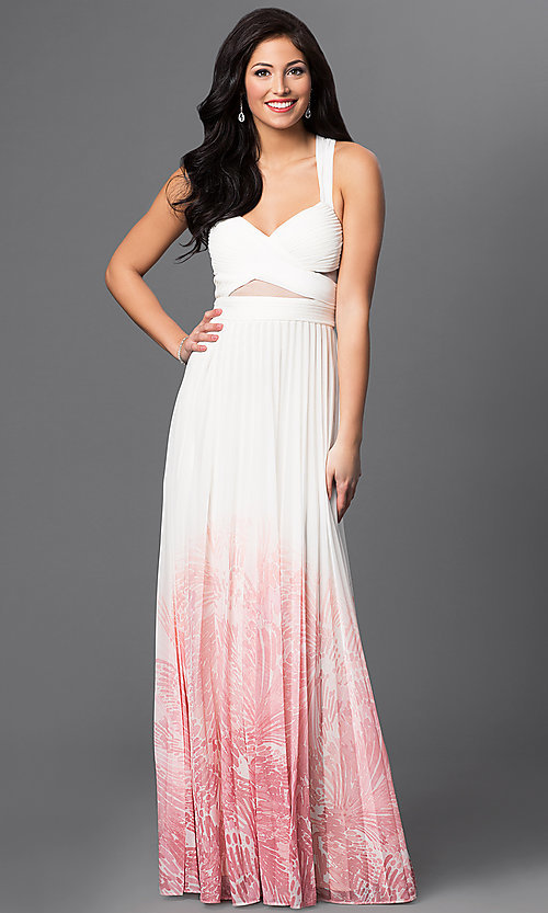 Image of long ivory-pink ombre prom dress Style: BA-A17285 Front Image