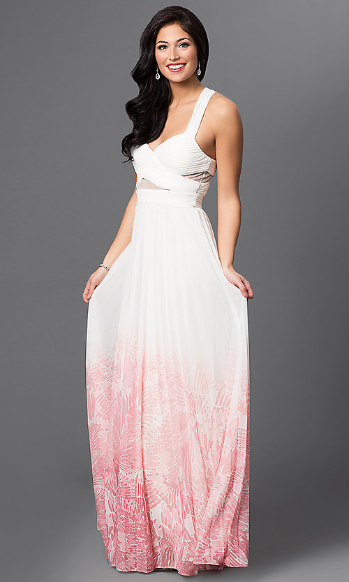 Image of long ivory-pink ombre prom dress Style: BA-A17285 Detail Image 1
