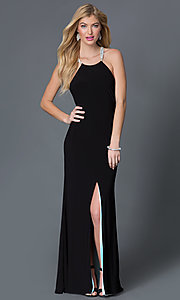Open-back long black formal dress Style: BA-A17641 Front Image