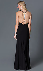 Open-back long black formal dress Style: BA-A17641 Back Image